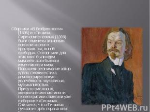 Сборники «В безбрежности» (1895) и «Тишина. Лирические поэмы» (1898) были отмече