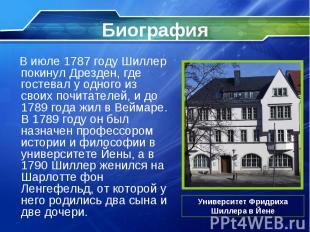 В июле 1787 году Шиллер покинул Дрезден, где гостевал у одного из своих почитате