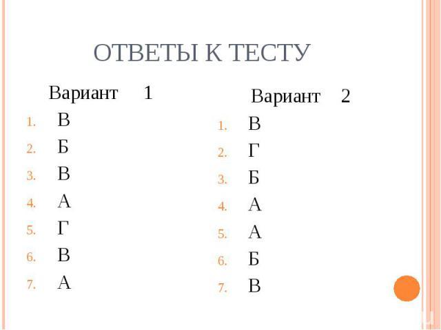 Вариант 1 Вариант 1 В Б В А Г В А