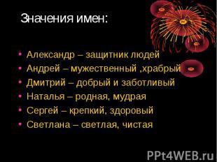 Александр – защитник людей Александр – защитник людей Андрей – мужественный ,хра