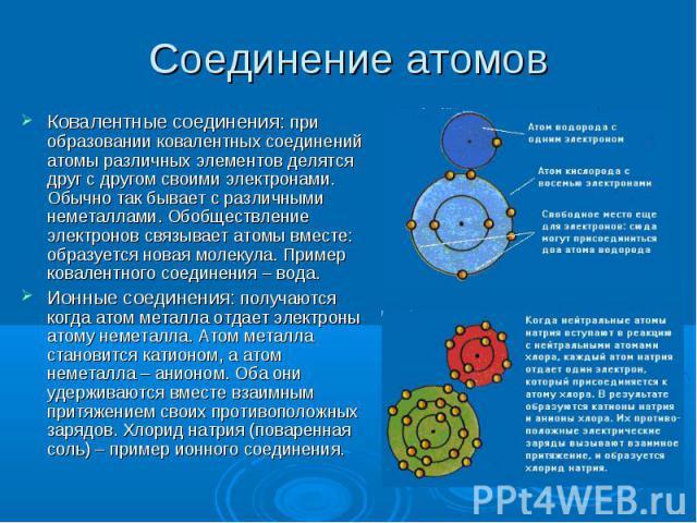 Ковалентные соединения: при образовании ковалентных соединений атомы различных элементов делятся друг с другом своими электронами. Обычно так бывает с различными неметаллами. Обобществление электронов связывает атомы вместе: образуется новая молекул…