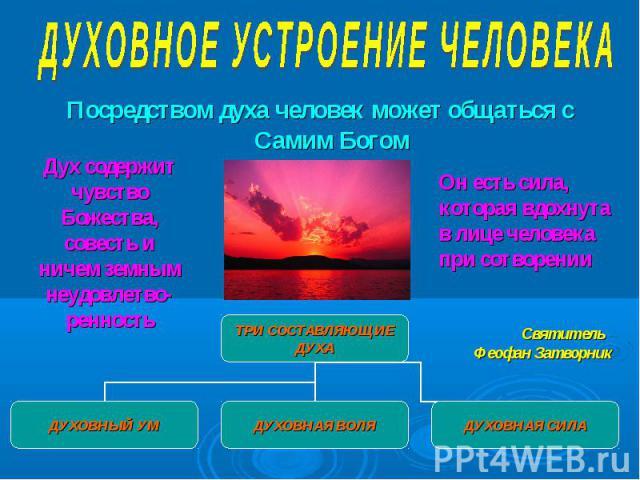 Посредством духа человек может общаться с Самим Богом Посредством духа человек может общаться с Самим Богом