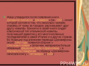 Жанр утвердился после появления книги Джованни Боккаччо «Декамерон» (ок. 1353),