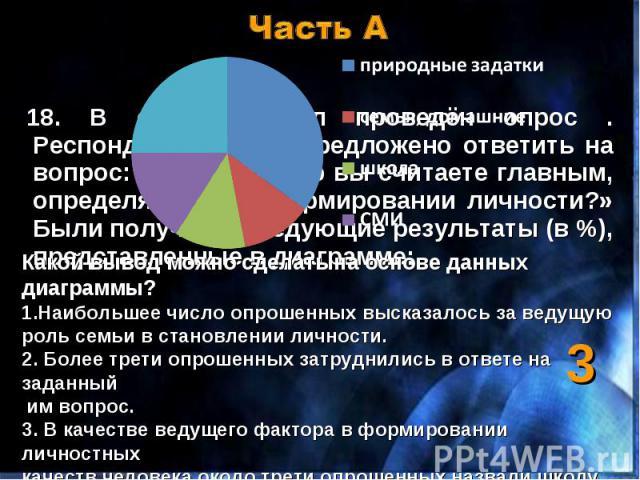 18. В стране Д.был проведён опрос . Респондентам было предложено ответить на вопрос: «Какой фактор вы считаете главным, определяющим в формировании личности?» Были получены следующие результаты (в %), представленные в диаграмме: 18. В стране Д.был п…
