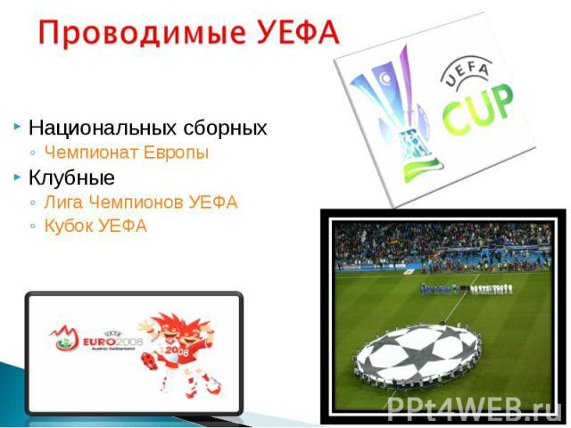 Национальных сборных Национальных сборных Чемпионат Европы Клубные Лига Чемпионов УЕФА Кубок УЕФА