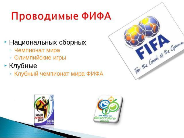 Национальных сборных Национальных сборных Чемпионат мира Олимпийские игры Клубные Клубный чемпионат мира ФИФА