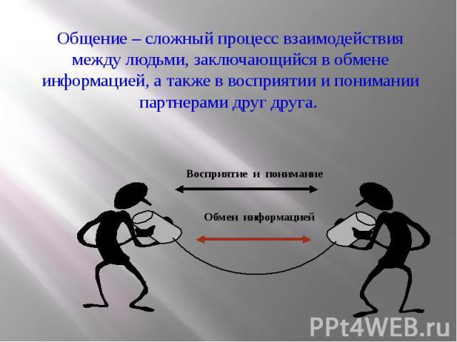 Общение – сложный процесс взаимодействия между людьми, заключающийся в обмене информацией, а также в восприятии и понимании партнерами друг друга. Общение – сложный процесс взаимодействия между людьми, заключающийся в обмене информацией, а также в в…