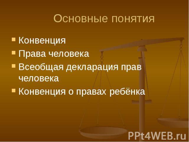 Основные понятия Конвенция Права человека Всеобщая декларация прав человека Конвенция о правах ребёнка