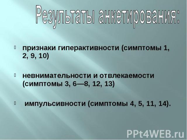 признаки гиперактивности (симптомы 1, 2, 9, 10) невнимательности иотвлекаемости (симптомы 3, 6—8, 12, 13) импульсивности (симптомы 4, 5, 11, 14).