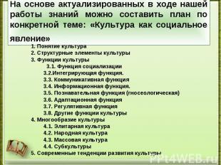 1. Понятие культура 1. Понятие культура 2. Структурные элементы культуры 3. Функ