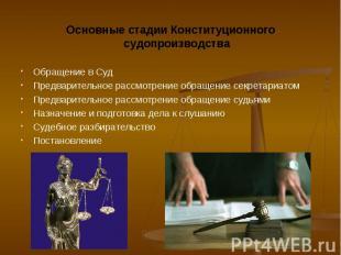 Основные стадии Конституционного судопроизводства Основные стадии Конституционно