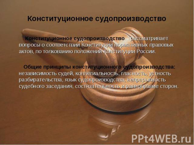Конституционное судопроизводство – рассматривает вопросы о соответствии Конституции нормативных правовых актов, по толкованию положений Конституции России. Конституционное судопроизводство – рассматривает вопросы о соответствии Конституции нормативн…