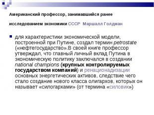 для характеристики экономической модели, построенной при Путине, создал термин p