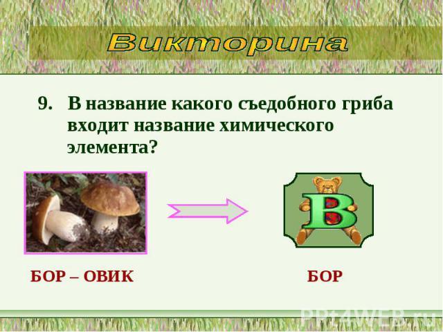 9. В название какого съедобного гриба входит название химического элемента? 9. В название какого съедобного гриба входит название химического элемента?