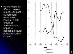 На примере 80-90–х г.г. можно видеть как рост смертности населения России, в том