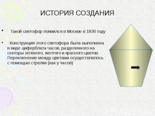ИСТОРИЯ СОЗДАНИЯ Такой светофор появился в Москве в 1930 году Конструкция этого