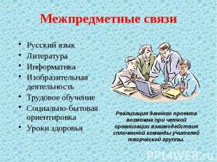 Межпредметные связи Русский язык Литература Информатика Изобразительная деятельн