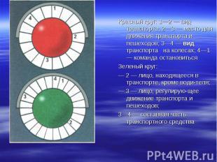 Красный круг: 1—2 — вид транспорта; 2—3 — место для движения транспорта и пешехо