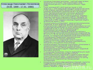 Несмеянов Александр Николаевич - советский химик-органик, академик АН СССР (1943