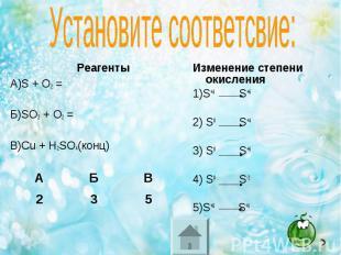 Реагенты Реагенты А)S + O2 = Б)SO2 + O2 = В)Cu + H2SO4(конц)