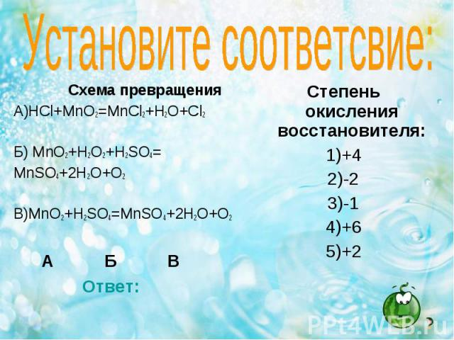 Схема превращения Схема превращения А)HCl+MnO2=MnCl2+H2O+Cl2 Б) MnO2+H2O2+H2SO4= MnSO4+2H2O+O2 В)MnO2+H2SO4=MnSO4+2H2O+O2