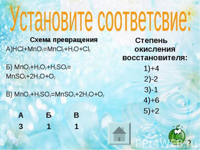 Схема превращения Схема превращения А)HCl+MnO2=MnCl2+H2O+Cl2 Б) MnO2+H2O2+H2SO4= MnSO4+2H2O+O2 В) MnO2+H2SO4=MnSO4+2H2O+O2