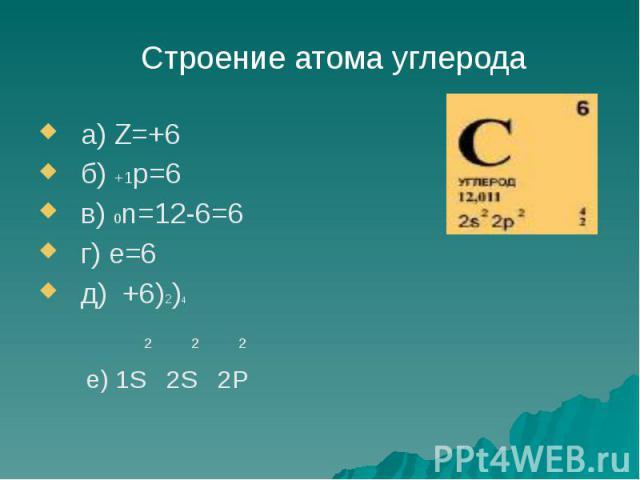 а) Z=+6 а) Z=+6 б) +1р=6 в) 0n=12-6=6 г) е=6 д) +6)2)4 2 2 2 е) 1S 2S 2P