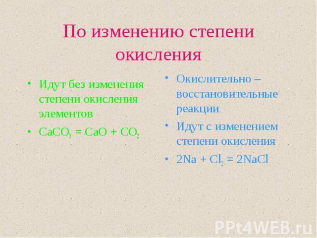 Идут без изменения степени окисления элементов Идут без изменения степени окисления элементов CaCO3 = CaO + CO2
