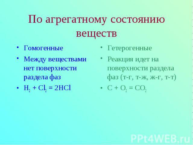 Гомогенные Гомогенные Между веществами нет поверхности раздела фаз H2 + Cl2 = 2HCl