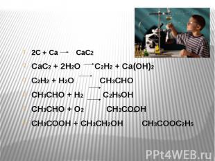 2С + Са СаС2 СаС2 + 2Н2О С2Н2 + Са(ОН)2 С2Н2 + Н2О СН3СНО СН3СНО + Н2 С2Н5ОН СН3