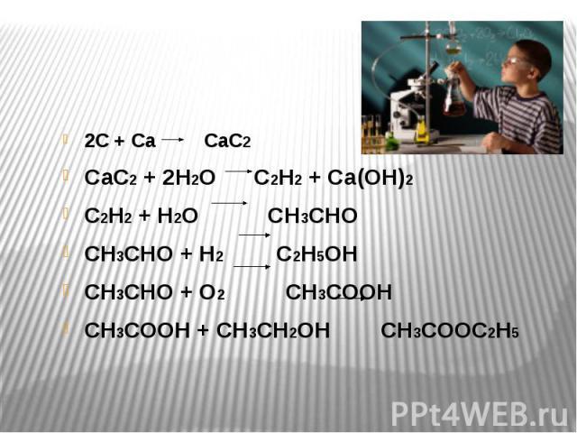 2С + Са СаС2 СаС2 + 2Н2О С2Н2 + Са(ОН)2 С2Н2 + Н2О СН3СНО СН3СНО + Н2 С2Н5ОН СН3СНО + О2 СН3СООН СН3СООН + СН3СН2ОН СН3СООС2Н5