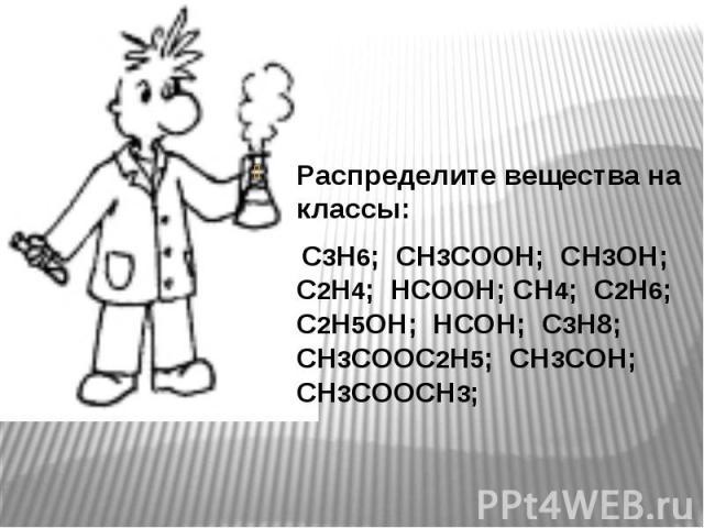 Распределите вещества на классы: Распределите вещества на классы: С3Н6; СН3СООН; СН3ОН; С2Н4; НСООН; СН4; С2Н6; С2Н5ОН; НСОН; С3Н8; СН3СООС2Н5; СН3СОН; СН3СООСН3;