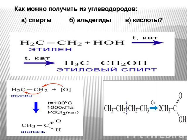 Как можно получить из углеводородов: Как можно получить из углеводородов: а) спирты б) альдегиды в) кислоты?