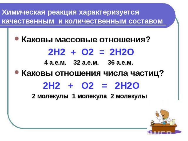 Химическая реакция характеризуется качественным и количественным составом Каковы массовые отношения? 2H2 + O2 = 2H2O 4 а.е.м. 32 а.е.м. 36 а.е.м. Каковы отношения числа частиц? 2H2 + O2 = 2H2O 2 молекулы 1 молекула 2 молекулы
