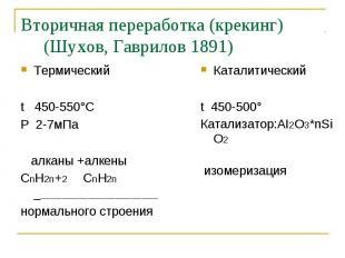 Термический Термический t 450-550°C P 2-7мПа алканы +алкены СnH2n+2 СnH2n ______