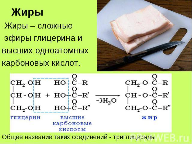 Жиры – сложные Жиры – сложные эфиры глицерина и высших одноатомных карбоновых кислот.