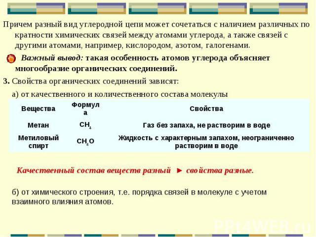 Причем разный вид углеродной цепи может сочетаться с наличием различных по кратности химических связей между атомами углерода, а также связей с другими атомами, например, кислородом, азотом, галогенами. Причем разный вид углеродной цепи может сочета…