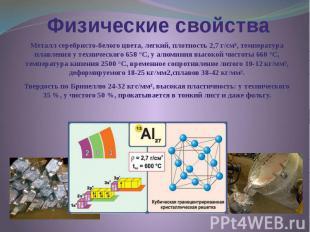 Физические свойства Металл серебристо-белого цвета, легкий, плотность 2,7 г/см³,
