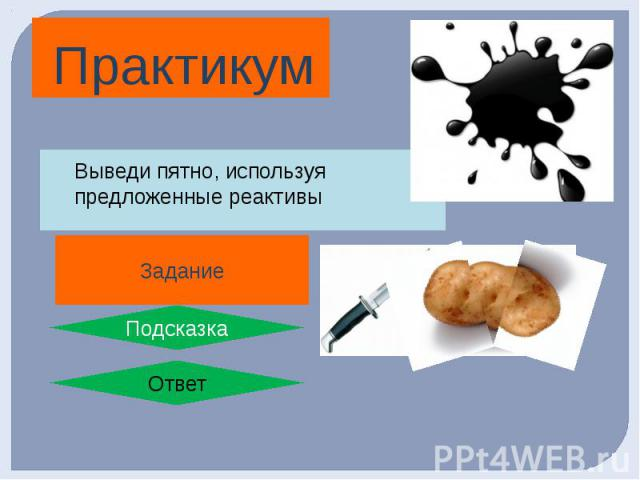 Практикум 1. Сделай пятно йодной настойкой на белой ткани