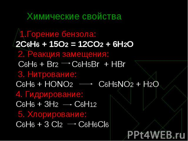 1.Горение бензола: 1.Горение бензола: 2С6Н6 + 15О2 = 12СО2 + 6Н2О 2. Реакция замещения: С6Н6 + Br2 C6H5Br + HBr 3. Нитрование: С6Н6 + НОNО2 С6Н5NО2 + Н2О 4. Гидрирование: С6Н6 + 3Н2 С6Н12 5. Хлорирование: С6Н6 + 3 Cl2 C6H6Cl6