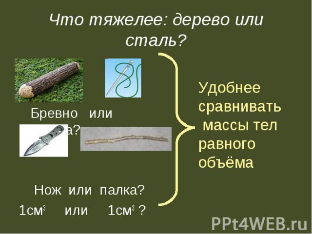Бревно или иголка? Бревно или иголка? Нож или палка? 1см3 или 1см3 ?