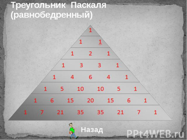 Треугольник Паскаля (равнобедренный)