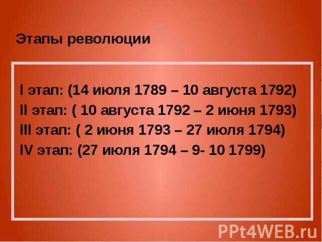 Этапы революции l этап: (14 июля 1789 – 10 августа 1792) ll этап: ( 10 августа 1792 – 2 июня 1793) lll этап: ( 2 июня 1793 – 27 июля 1794) lV этап: (27 июля 1794 – 9- 10 1799)
