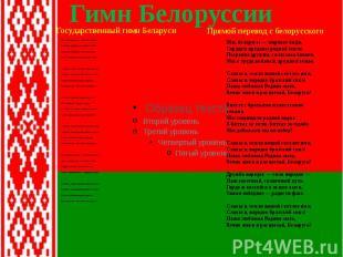 Гимн Белоруссии Мы, беларусы — мірныя людзі, Сэрцам адданыя роднай зямлі, Шчыра
