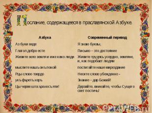ослание, содержащееся в праславянской Азбуке. ослание, содержащееся в праславянс
