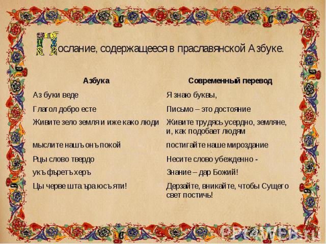 ослание, содержащееся в праславянской Азбуке. ослание, содержащееся в праславянской Азбуке.