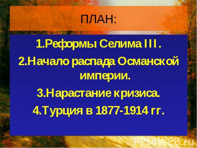 1.Реформы Селима III. 1.Реформы Селима III. 2.Начало распада Османской империи. 3.Нарастание кризиса. 4.Турция в 1877-1914 гг.