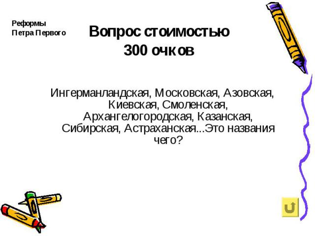 Реформы Петра Первого