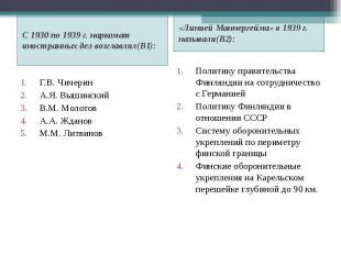 С 1930 по 1939 г. наркомат иностранных дел возглавлял(В1): С 1930 по 1939 г. нар