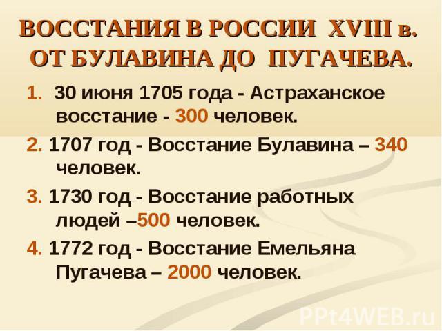 1. 30 июня 1705 года - Астраханское восстание - 300 человек. 1. 30 июня 1705 года - Астраханское восстание - 300 человек. 2. 1707 год - Восстание Булавина – 340 человек. 3. 1730 год - Восстание работных людей –500 человек. 4. 1772 год - Восстание Ем…